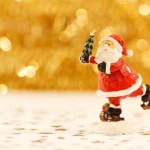 Santa skating Stock